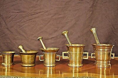 Rare Antique solid bronze collection of ancient pestle mortar 1700's heavy brass