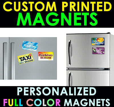 75 Personalized Magnets CUSTOM PRINTED FULL COLOR 3x4 Business Card Magnet 4x3