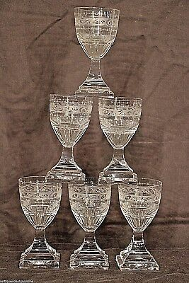 Set antique cut crystal KOSTA glasses Swedish Gustavian Empire stemware Georgian