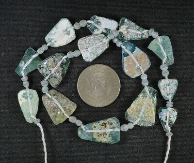 Ancient Roman Glass Beads 1 Medium Strand Aqua And Green 100 -200 Bc 1000