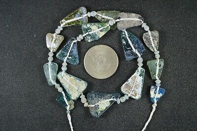Ancient Roman Glass Beads 1 Medium Strand Aqua And Green 100 -200 Bc 1002
