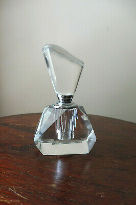 Fabulous Cut Glass Faceted Crystal Art Deco Style Perfume Bottle With Dipper