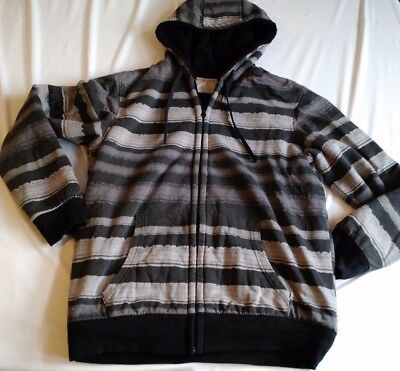 No Boundaries Mens Heavy Insulated Hoodie Grey Black Striped Size M (38-40)