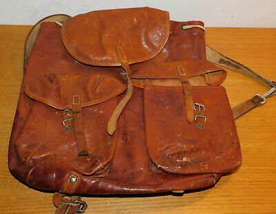 e031b8a812 vintage ancien SAC à DOS MILITAIRE SUISSE CUIR leather bag BACKPACK tasche  LEDER