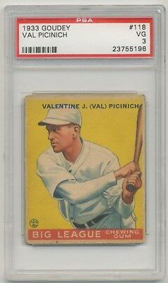 1933 Goudey Gomme #118 Val Picinich PSA 3 VG Brooklyn Dodgers Ensemble Pause