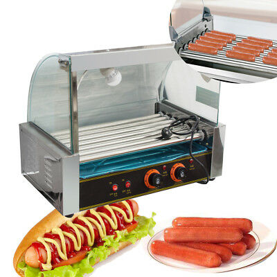 【US】Portable Commercial 18 Hotdog Hot Dog 7 Roller Grill Cooker Machine W/Cover