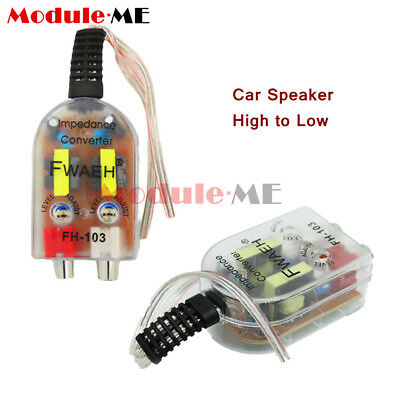 Level Car Speaker High to Low Impedance Converter Adapter 2 Channel RCA Line Out