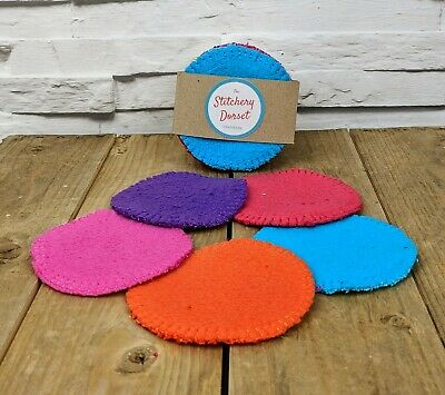 Bamboo Reusable Coloured Make Up Pads Pack of 5 handmade dual sided round fleece