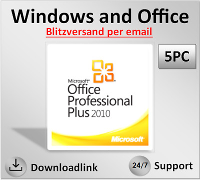 MS Office 2010 Professional Plus (1-5 PC), 32 & 64 Bits, direkt per Email