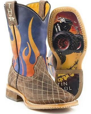 a4090bb48b6 TIN HAUL BOYS' Barbed Wire All Beef Sole Cowboy Boot Square Toe ...
