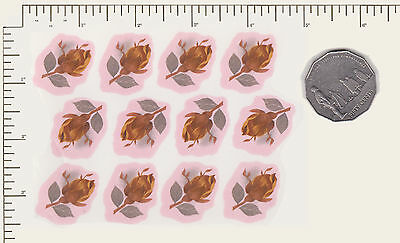 "12 x Waterslide ceramic decals Decoupage Mulder & Zoon Red rose buds 1"" PD883"