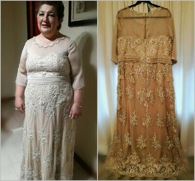 CHAMPAGNE IVORY CHIFFON Mother of the Bride Dresses Beaded ...