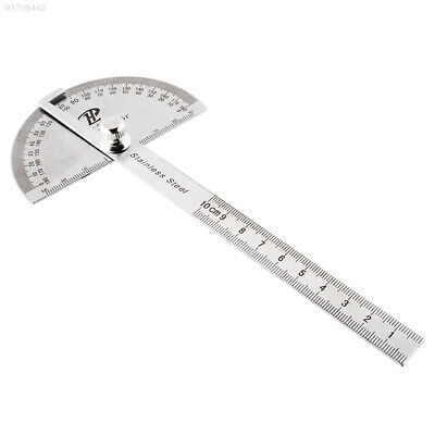 8F22 Stainless Steel Round Head Rotary Protractor Angle Finder Rule Measure Tool