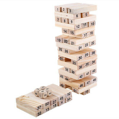 Tower Wood Building Blocks Toy 54pcs And 4pcs Stacker Extract Educational Toys