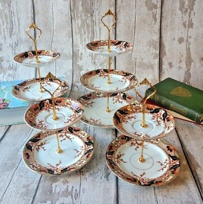 Lot of 4 Vintage/chic Imari style China Cake stands Afternoon Tea/Wedding/ Party
