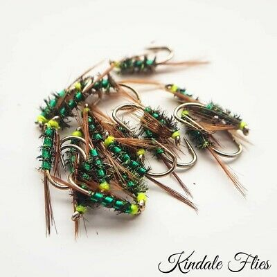 Fly Fishing Flies Set of 3 Holo Red Diawl Bach Jungle Cock Cheeks  size 14