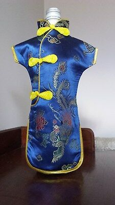 Wine Bottle Dress Blue Embroidered Chinese Cheongsam Cover BNWT Dinner Party