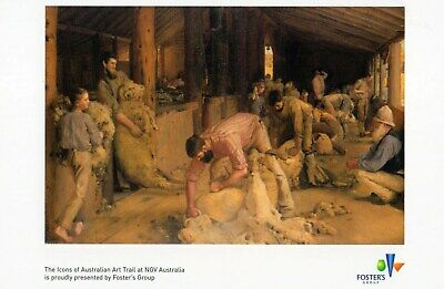 Australian Postcard Shearing the Rams by Tom Roberts Felton Bequest NGV 121
