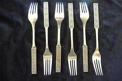 Wiltshire Burgundy 6 Entree Forks   Vintage Retro Quality Stainless Steel