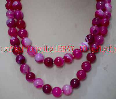 10MM GENUINE RARE pink CHALCEDONY AGATE BEADS NECKLACE 18-48icnh