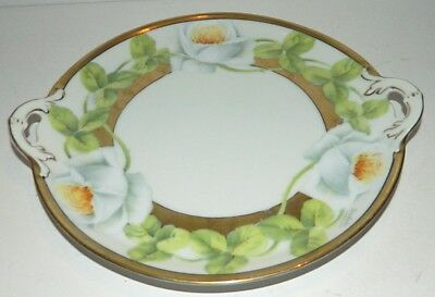 """Tirschenreuth Hand Painted Small 9"""" Cake Plate w/ Double Handle - Signed Dedale"""