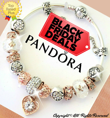 AUTHENTIC PANDORA CHARM BRACELET Silver Rose Gold White and ...