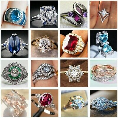 925 New CZ Silver Girl Lady Brand Women Band Wedding Rings Engagement Jewelry