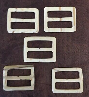 Lot Of 5 Vintage Slide Marble Color Celluloid Belt Buckles