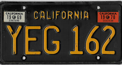 1969 1970 California Gold And Black License Plate  #   Yeg  162