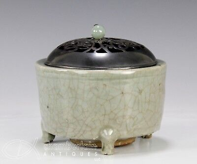 Antique Chinese Celadon Glazed Tripod Censer with Silver Cover - Ming Dynasty