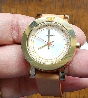 2748eae4a7e2 Tory Burch Ellsworth Gold Luggage Tbw6000 Watch With 34Mm Face   Leather  Band