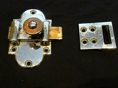 Antique 1930'S Chromed Brass Bathroom/Toilet Door Lock and Keep Sliding Bolt Old