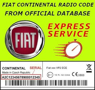 FIAT CONTINENTAL RADIO Code - Vp1 Vp2 Unlock Key Serial~ A2C Official  Database