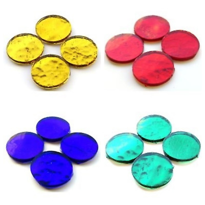 25mm Round Mirror Mosaic Tiles in a Choice of Colours - (4 Tiles)