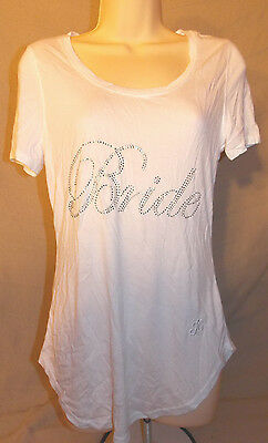 WOMEN S JUICY COUTURE White Embellished Bride Tee Shirt Small ... a82c4bb37