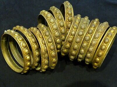 """Antique French Gilt Brass Curtain Rings x 12 Opening For Curtain Is 2 1/4"""""""