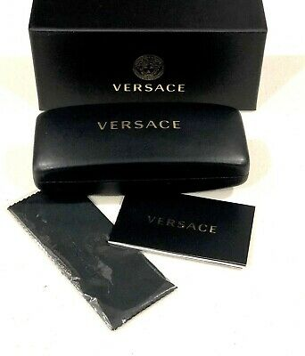 Versace Black Hard Cell Eyeglasses Sunglasses Medium Case Cloth Box Set Optical