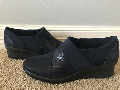 00b12077f New CLARKS Caddell Denali Navy Blue Leather Flats Loafers Slip On Sz 7.5