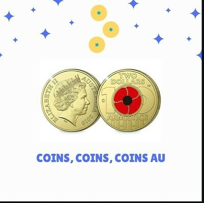 2018 Armistice Remembrance Poppy Single $2 Coin - 100 Years - FROM 5 Pack