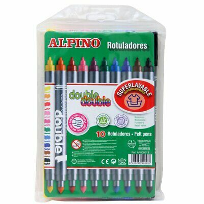 ALPINO Rotuladores DOBLE PUNTA 10 colores