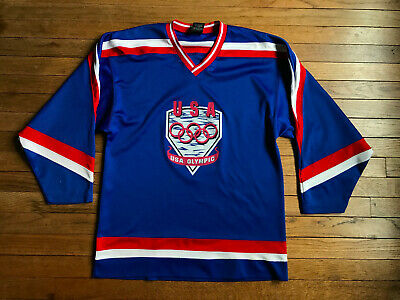 03becf9ae Vintage 90s Team USA Olympics Hockey Jersey Medium 1992 1994 Shirt Blue  JCPenney