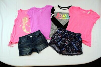 0ad6d90a7915a3 Kids Girls Justice Clothing Lot of 6x Pieces Tank Top Shirt Shorts Size 8  and 10