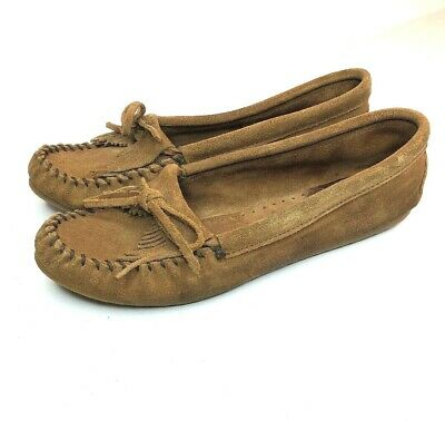 acf359a11ef MINNETONKA WOMENS 11 Brown Leather Hard Sole Moccasins Loafer Fringe ...
