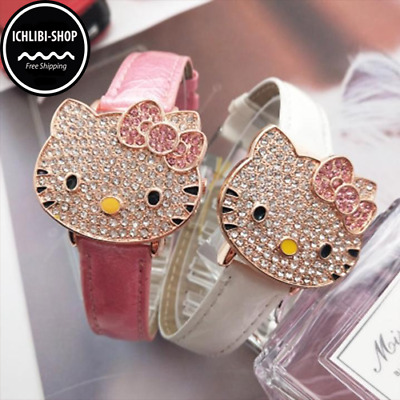 66a55b858 HELLO KITTY CZ ICED OUT WOMANS GOLD TONE FLIP WATCH+Box SHIPS FREE IN 3