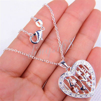 """925 Sterling Silver Heart LOVE Pendant 22mm * 32mm + 18"""" Chain Necklace Set H862"""