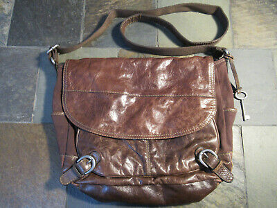 Large Fossil Lizette Brown Canvas leather Crossbody messanger bag.