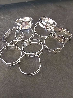 RING BASE SHINY SILVER FINDING ADJUSTABLE SIZE 10 PACK Jewellery FINDING 8 MM