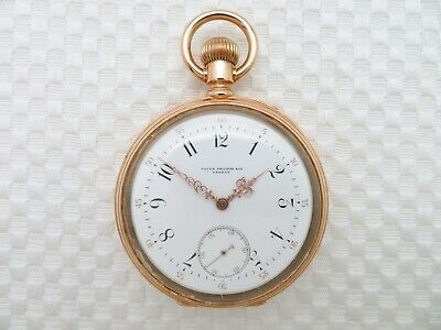 Antique 1885-1890 PATEK PHILIPPE & CO. 18K SOLID GOLD POCKET WATCH 51.5 mm