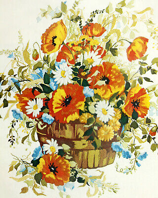 Vtg Paragon 24x26 Crewel Kit Picture Summer Bouquet Flower Poppy Bushel Basket