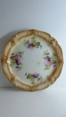 Antique Victorian Hand Painted Plate  Violets Floral